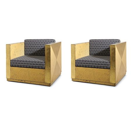 Goldene Sessel im Art Deco Stil, 20. Jahrhundert