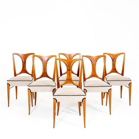 Esszimmer Stühle im Stil von Paolo Buffa, Italien Mitte 20. Jahrhundert