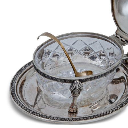 Silber Dose mit Glaseinsatz und Löffel, 19. Jahrhundert