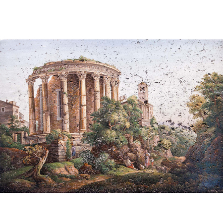 Mikromosaik, Tempel der Vesta und der Sibylle in Tivoli, Rom, um 1810