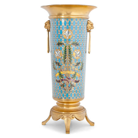 Cloisonné Vase, sig. Barbedienne, Frankreich 2. Hälfte 19. Jahrhundert