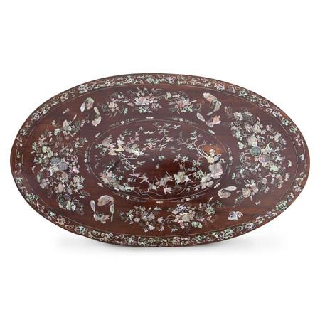 Intarsierte Platte, China 19. Jahrhundert