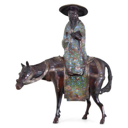 Japanische Bronze eines reitenden Gelehrten, 19. Jahrhundert
