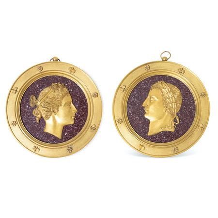 Napoleon Bonaparte und Josephine de Beauharnais Plaketten, Frankreich Anfang 19. Jahrhundert