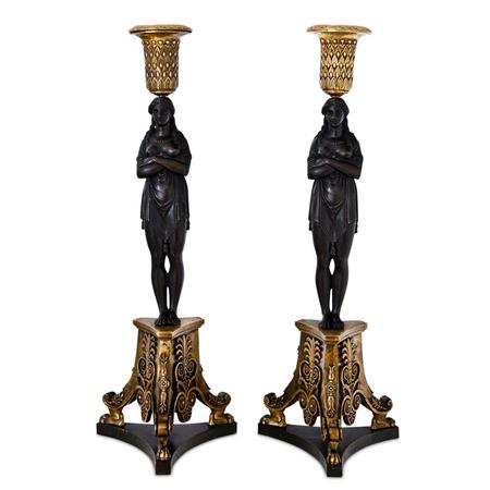 Empire Karyatiden Leuchterpaar, Modell Thomire-Duterme et Cie, um 1810