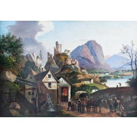 Blechbild mit Landschaftsdarstellung, Mitte 19. Jahrhundert