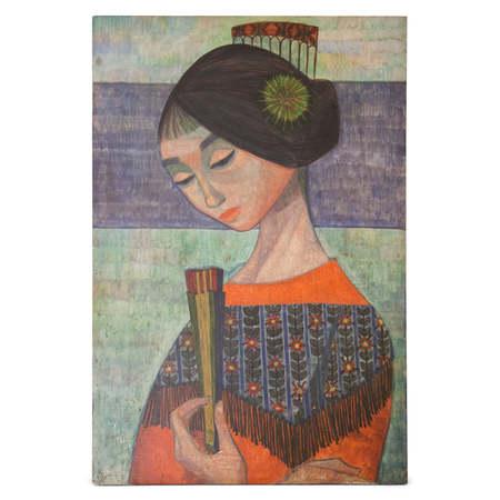 Gemälde Frau mit Fächer, sig. R. Coneri, 20. Jahrhundert