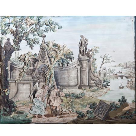 Collage nach 'Tobias und der Engel', wohl Frankreich 18. Jahrhundert