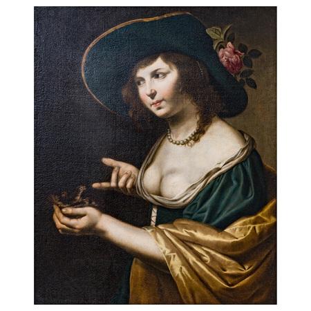 Jan van Bijlert (1598-1671), Dame mit Vögelchen