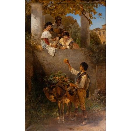 Joseph Fay (1812-1875), Avancen an die schönen Schwestern, Düsseldorfer Schule, datiert 1872