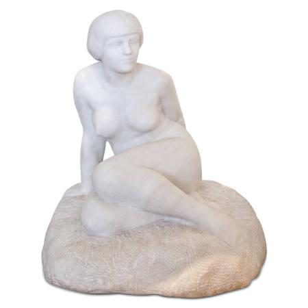 Art Deco Skulptur einer Sitzenden, sig. Chauvet, Frankreich 1920er Jahre