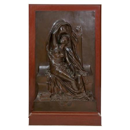 Bronzerelief 'La Pensée', sig. Henri Chapu (1833-1891)