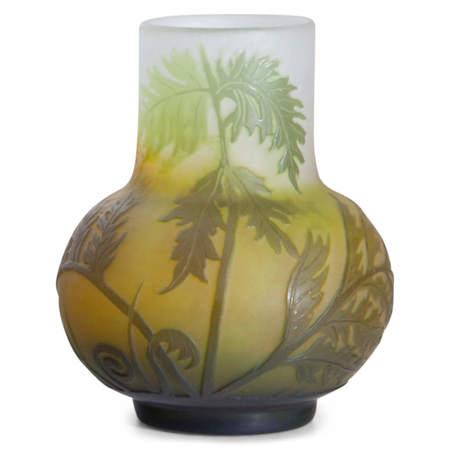 Grüne Gallé Vase, Frankreich Anfang 20. Jahrhundert
