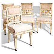 Satz von vier Klassizistischen Stühlen, Lucca um 1800