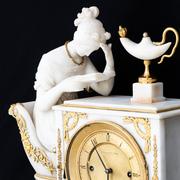 Alabaster Pendule 'Die Lesende', Wien, datiert 1832