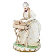 Porzellanfigur Spinettspielerin, Wien 18. Jahrhundert