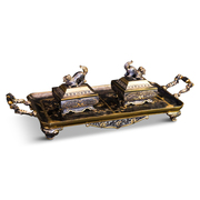 Chinoiserie Schreibtischgarnitur, 19. Jahrhundert
