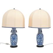 Tischlampen mit Porzellanfuß, 20. Jhd.