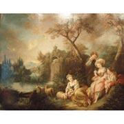 Rokoko-Gesellschaft an einem Weiher, Frankreich Mitte 18. Jahrhundert
