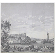 Grisaille Panorama Tapete, wohl Dufour et Cie Grisaille, 19. Jhd.