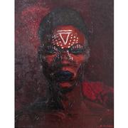 Ölgemälde von Fernand Collomb (1902-1981) – Portrait eines afrikanischen Kriegers