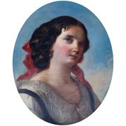 Friedrich Schilcher, Biedermeier Portrait einer jungen Dame, Wien 19. Jahrhundert
