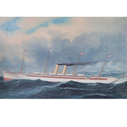 Schiffsportrait, Kaiser Wilhelm II, sig. Beerwald, Hoboken um 1900
