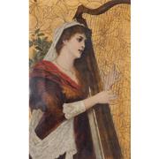 Conrad Kiesel (1846-1921) junge Frau beim Harfenspiel, dat. 1885