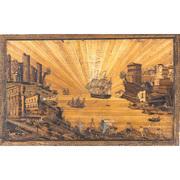 Strohbild mit Hafenszene, Italien um 1800