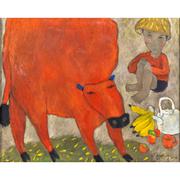 Gemälde mit roter Kuh, sig. Quang, 2010