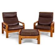Paar Sessel mit Hocker, Dänemark Mitte 20. Jahrhundert