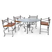 Eisentisch und Stühle, Italien 1950er Jahre