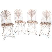 Vier Gartenstühle aus Eisen, Anfang 20. Jahrhundert