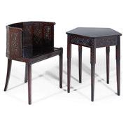 Stuhl und Tisch attr. Ettore Zaccari, Italien, frühes 20. Jahrhundert