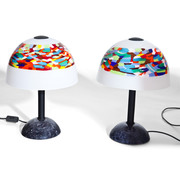 Tischlampen mit Murrine Glasschirmen, Italien 20. Jahrhundert