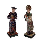 Chinesisches Mandschuren Figurenpaar, 19. Jhd.
